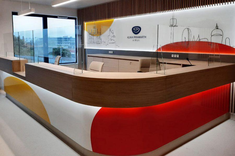 Brand Experience Interior Branding Klinik Pirawarth in Wien